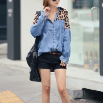 Batwing manga Casual Leopard Print Loose Fit Denim Camisa Blusa