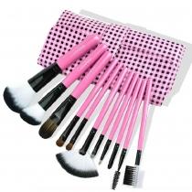 Beauty 11 PC del maquillaje del sistema de cepillo con Comestic Plaid Pink bolsa