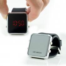 Unisex Espejo esfera de un reloj digital del deporte del LED (Blanco)