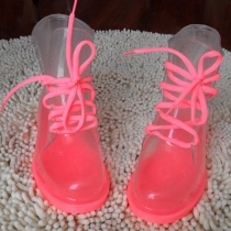 Color del caramelo Lace Up Boots transparentes Galoshes lluvia
