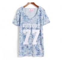 Ocio Loose Número montaje y Letter Print T-shirt de la Hermanas