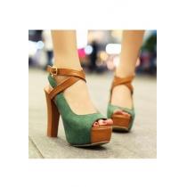 Estilo Europeo Peep-toe Cruz Verde Correa Zapatos de tacón alto
