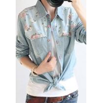 Retro Floral Print empalmados Denim Camisa Blusa