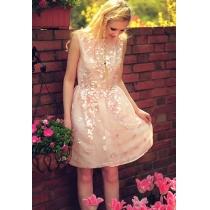 Vestido de Novia Vestido de Fiesta Rosado adornado con lentejuelas bordado Cut Low V-cuello del vestido del tanque Volver