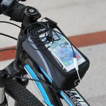 De gran tamaño frente de la bicicleta de la bici del marco del tubo del bolso del almacenaje de PVC bolsa para 4.8inch teléfono y otros Android teléfono celular