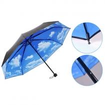 Paraguas Plegable de Estampado Cielo Azul y Nubes Blancas para Contar Lluvia o UV