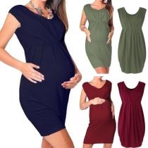 Vestido de Maternidad sin Mangas de Cuello Redondo Talle Alto