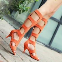 Peep Toe Recortable tacón de aguja Gladiador Sandal Boot