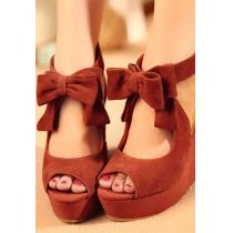 Bowknot dulce Peep-toe de cuña zapatos de tacón alto