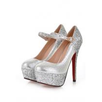 Classy contraste elegante color Lentejuela Correa zapatos de plataforma de tacón alto
