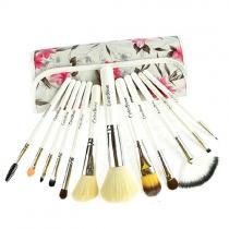 Profesional 12 piezas vintage Cepillos cosméticos maquillaje Kit con estampado de flores de la bolsa