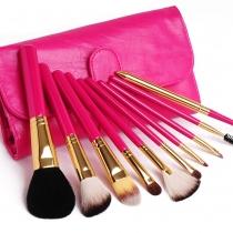 10 PCS maquillaje cosmético del sistema de cepillo con Rose roja Bolsa