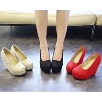 Zapatos de Tacón de Cuña de Encaje de Ganchillo