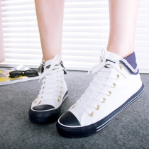 Fashion Contrast Color Lace Up High-top Canvas Shoes
