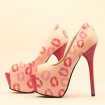 Zapatos Peep-toe Labios Imprimir Bombas Stiletto Zapatos de Tacón Alto Heeled-shoes