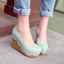 Zapatos de Tacón de Cuña Elegante de PU