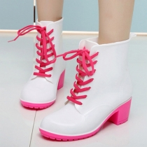 Fashion Contrast Color Round Toe Lace Up Thick Heel Rain Boots