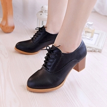 British Style Thick High-heeled Lace Up Round Toe Shoes