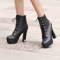 Fashion Thick High-heeled Round Toe Lace UP Martin Boots