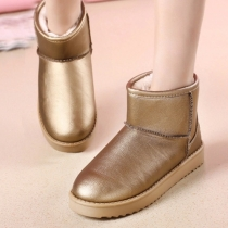 Fashion Solid Color Round Toe Flat Heel Warm Snow Boots
