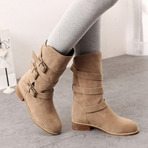 Fashion Round Toe Square Heel Belt Buckle Martin Booties