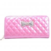 Fashion Rhinestone Bowknot Zipper Women Wallet
