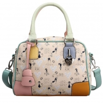 Fashion Spliced Contrast Color Floral Print Handbag Cross Body Bag