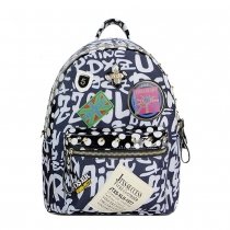 Fashion Letters Print Rivets Badge Backpack
