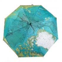 Paraguas Plegable de Estampado Mundial Mapa para Contar Lluvia o UV