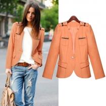 Fashion Solid Color Long Sleeve Slim Fit Woolen Coat