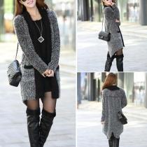 Fashion Lapel Long Sleeve Irregular Hem Knitting Cardigan