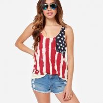 Moda de la bandera americana de la impresión floral Spliced arrugado chaleco sin mangas t-shirt