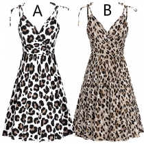 Sexy Backless V-neck Leopard Printed Sling Dress