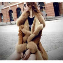 Elegant Solid Color Lapel Long Sleeve Warm Overcoat with Waist Strap