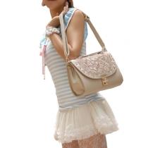 Elegante Crochet Lace Spliced Rivet Bolso Bandolera