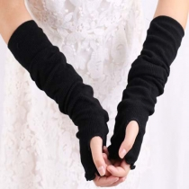 Fashion Solid Color Fingerless Knitted Long Gloves