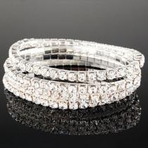 Luxurious Single-row Rhinestone Crystal Stretch Bracelet