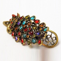 Retro Style Colorful Crystal Peacock-shaped Hairpin