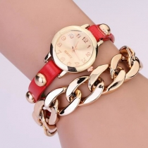 Punk Style Rivet Chain Leather Watch Band Quartz Watches