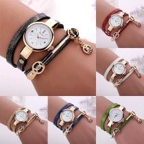 Punk Style Rivet Chain Leather Watch Band Quartz Watches