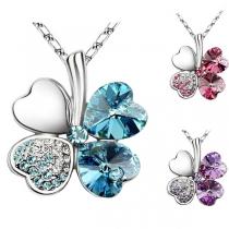 Fashion Four Leaf Clover Crystal Pendant Necklace
