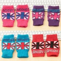 Fashion British Flag Pattern Knit Half Finer Gloves