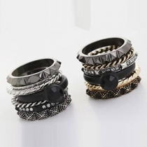 6 Pieces 1 Set Gold/Silver-tone All-match Rings