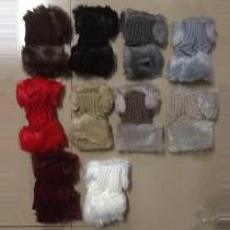 Fashion Faux Fur Spliced Knit Half Finger Gloves