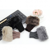 Fashion Faux Fur Spliced Warm Knit Half Finger Gloves