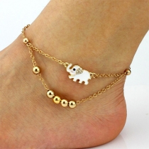 Fashion Elephant Pendant Beaded Ankle Chain