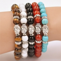 Fashion Agate Beaded Buddha Head Bracelet