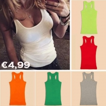 Tank Tops de Escote Redondo de Puro Color