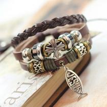 Retro Style Cross Beaded Braided PU Leather Bracelet