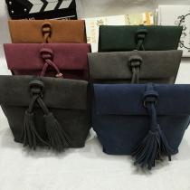 Fashion Solid Color All-match Tassel Shoulder Bag